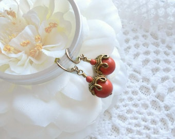 Swarovski Coral Crystal Pearl Earrings