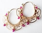 Custom Order for Kay: Leela Filigree Hoop Earring in Gold-filled w/ Ruby -Balance