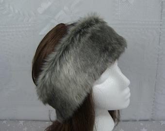Women's Faux Fur HEADBAND, Fur Headwrap, Ear Warmer, Head Warmer, Gray Chinchilla Fur Headband