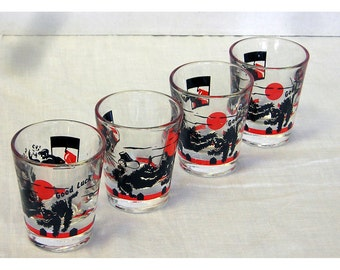 Black Cat 1950s Shot Glasses Good Luck Halloween Set 4 Vintage Bar Ware