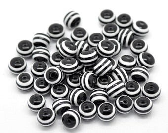Striped Resin Beads - 8mm - Set of 50