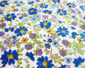 Floral Cotton Fabric - Flowers Fabric in Cool Blue - Half Yard