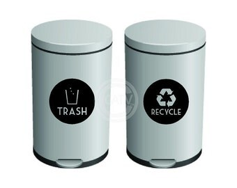 Recycle And Trash Garbage Can Label Vinyl lettering wall decal sticker
