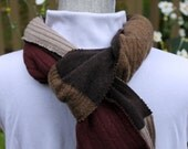 Recycled upcycled 100% cashmere scarf -- mens or unisex -- 50 shades of brown -- chocolate, coffee, toffee, caramel