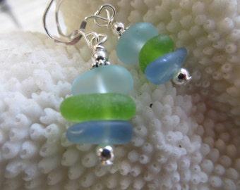 blue and aqua genuine beach sea glass 925 sterling silver dangling earrings