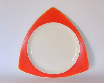 Art Deco Platter: Salem Tricorne in Mandarin Orange - Atomic Triangular Tray or Large Plate Designed by Broomhill, Schreckengost, etc.
