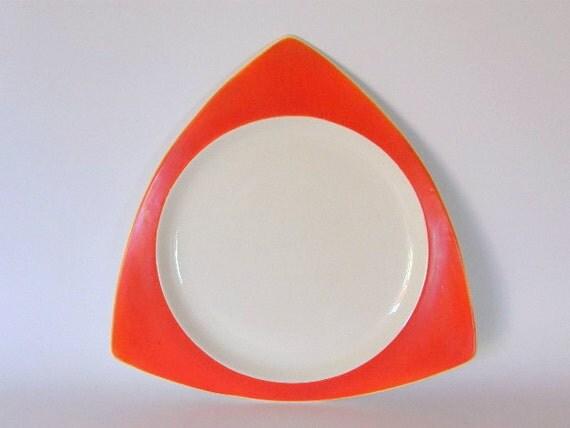Art Deco Platter: Salem Tricorne in Mandarin Orange - Atomic Triangular Tray or Plate, Condition Grades A, B & C