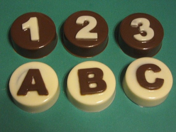 ABC and 123 customizable chocolate covered sandwich cookie party favors
