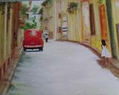 Art Original Oil Painting Vintage Car Woman Cuban Scene