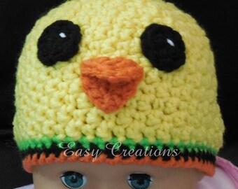 CROCHET PATTERN Chick baby beanie chickie hat warm eyes beak yellow toque babies girl girls boy boys 1 to 12 mo intermediate skill level
