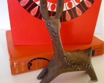 SALE~ Vintage Folk art Deer Wood Carving