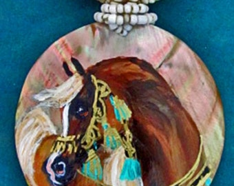 Arabian horse art handpainted necklace on mother of pearl chestnut 5