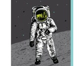 Box of 6 Man on the Moon Cards, astronaut space design, blank greeting card, fun all occations, science stars planets gift sci-fi astro man