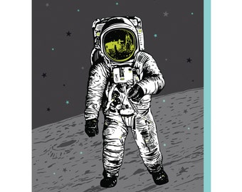 Astronaut Cards, Man on the Moon Card, Box of 6 A2 Moon Greeting Cards, blank birthday cards, lunar spaceman space design, recycled paper