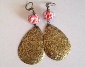 Chandelier Earrings - Floral Stamped Brass Teardrops with Lampwork Glass on Leverbacks (E-449)
