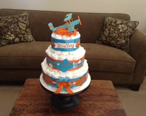 Airplane Diaper Cake baby shower centerpiece  Thre tier cake or gift other sizes and colors too room Zroom