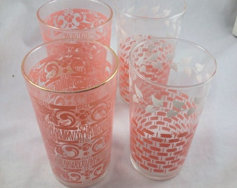 50s set of 4 pink print drinking glasses
