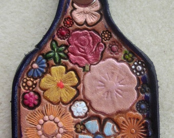 Leather Flower Garden Key Fob with Purple Border  Made in GA USA  OOAK