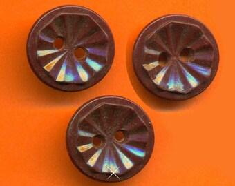 Vintage 3 Deep Maroon Art Deco 15mm Buttons N7R 2