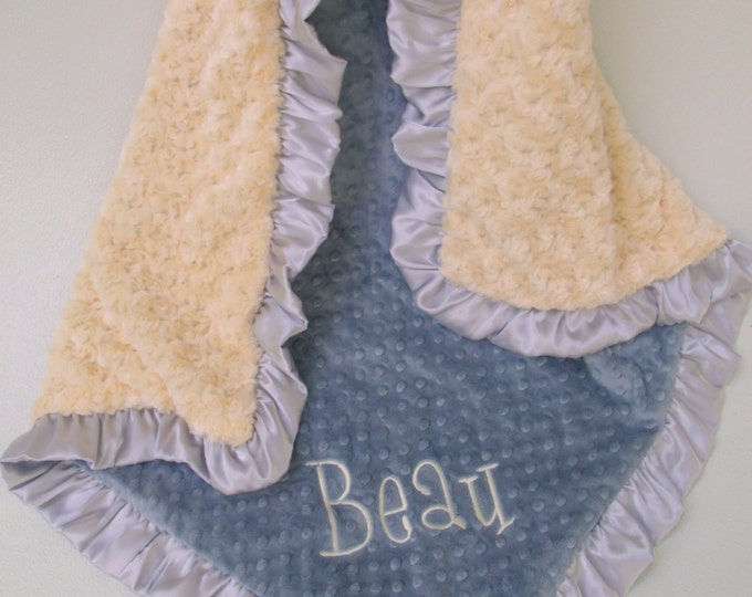 Yellow and Gray Minky Baby Blanket - for adults, teens, and toddlers too
