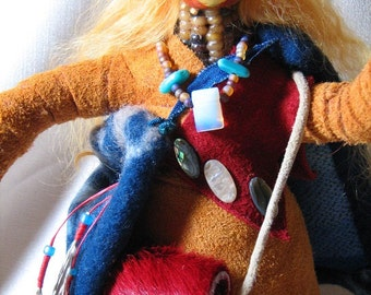 Native American style doll, OOAK primative doll, eight inch doll, Traveling Woman