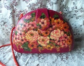 Vintage 70s Handpainted Weave Purse Made in Philippines