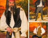 Mens Jack Sparrow Pirate Pattern Coat Shirt Vest Cravat Costume Size L, XL Simplicity 4923