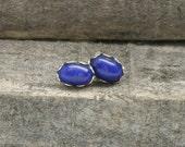 Blue Lapis Sterling Silver Scalloped Edge Post Earrings