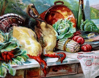 Vintage Thanksgiving Postcard Embossed with two dead turkeys, fish, cabbage, onions and carrotts on a table 1908