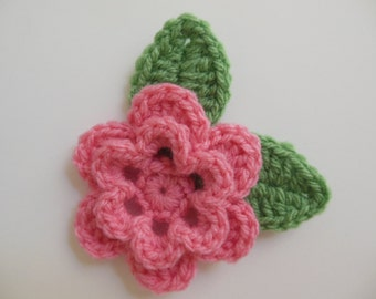 Crocheted Flower with Leaves - Candy Pink and Sage Green - Acrylic Yarn - Crocheted Flower Applique - Crocheted Flower Embellishment