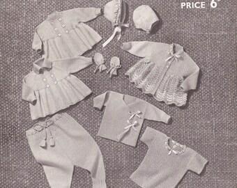 PDF Vintage Knitting Pattern Babys Layette Set, Vest, Jacket, Leggings, Coat, Dress, Bonnet/Helmet, Mitts Birth (SD312)