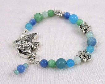 Angel Fish Bracelet, blue green quartz beads with sterling silver fish and box clasp