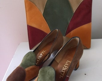 Vintage LaPatti Matching Suede Shoes and Handbag
