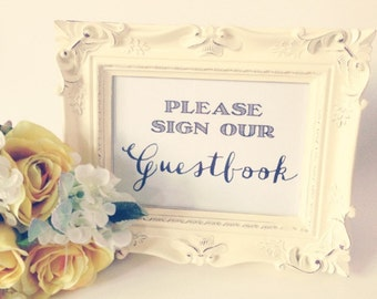 Wedding sign, 5x7 Wedding sign, 8x10 Wedding sign, Please Sign our Guestbook