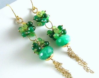 25OFF Green Quartz, Emeralds and Jade Earrings, Long Green and Gold Earrings