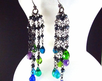 Colorful Quartz, Amethyst and Pyrite Wire Wrapped Oxidized Dangle Cluster Earrings