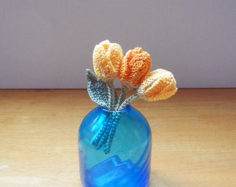 Kawaii Crochet Flower Corsage Brooch - Yellow Tulips -