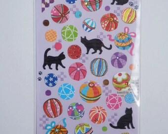 Kawaii Japanese Stickers - Washi paper Temari Cats - (74282)