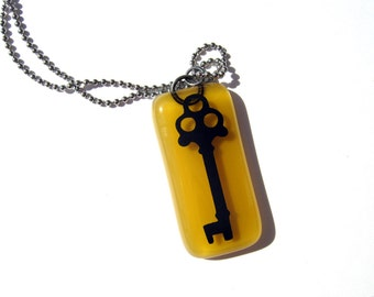 Glass Key Pendant - Hand Painted Key Necklace - Gift for Her - Fused Glass