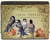 Shabby Cottage Chic French Postcard Birds and Roses Wood Block Shelf Sitter Wall Plaque