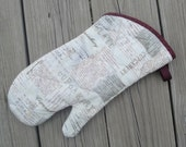 Cupcake - Retro - Brown - Grey - Oven Glove - Oven Mitt - Pot Holder - Recipe - Hostess Gift - Kitchen Decor - Housewarming