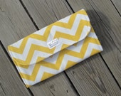 Yellow Chevron Diaper Clutch with Changing Pad - Gender Neutral -  Gray - Grey - Chevron Diaper Clutch - Baby Shower Gift - Boy - Girl