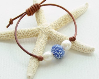 Leather Bracelet. Freshwater Pearls, Rustic Leather and Cobalt Blue Agate. Beach Jewelry