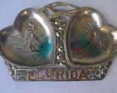 1950 Florida Metal Ashtray Souvenir Palm Trees Flamingos Alligator Hearts