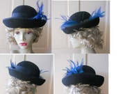 Hat Derby Black teal feathers bowler Downton Edwardian style OOAK stage