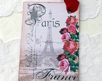 Eiffel Tower, Gift Tags, French Gift Hang Tags, Paris Tags, Red Roses, French Tea Party Favours, Bridal Shower, Vintage Shabby,Australia