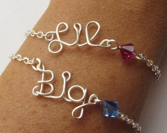 Sorority Personalized bracelet...handmade name, sisters, birthday, college jewelry. Choose your own Color