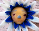 Bachelor Button Polymer Clay Ornament Sculpture, Handmade OOAK Art, Weird Blue Fantasy Flower Face Figurine, 4 inches, Alice in Wonderland