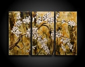 Abstract Painting Modern Painting Wall Art Asian Blossoms Tree Painting Contemporary Painting Encaustic Painting 24 x 36 Triptych Zen