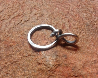 Unique Thick Sterling Silver Organic Tiny Trinket Charm Holder Pendant for Your Own Charms - Antiqued or Shiny - Handmade to Order